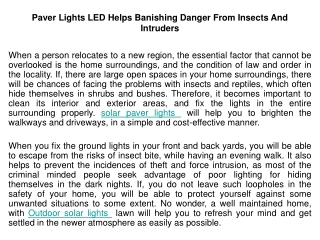 Paver Lights LED Helps Banishing Danger From Insects And Int