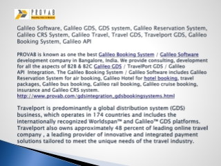 Galileo Software, Galileo GDS, GDS system