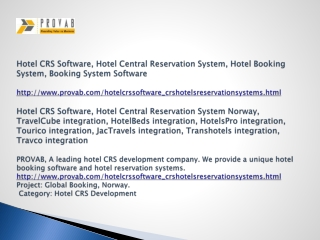 Hotel CRS Software, Hotel Central Reservation System