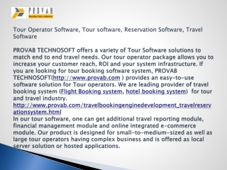 Tour Operator Software, Tour software, Reservation Software