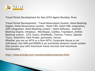 Travel Portal Development for Non IATA Agent