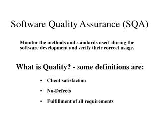 Software Quality Assurance SQA