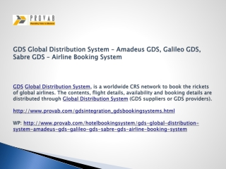 GDS Global Distribution System – Amadeus GDS, Galileo GDS