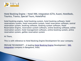 Hotel Booking Engine / Hotel XML integration (GTA, Kuoni