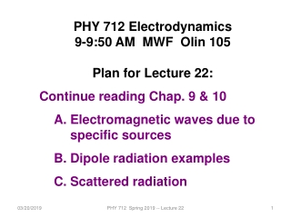 Lecture 11:   Electromagnetic Waves