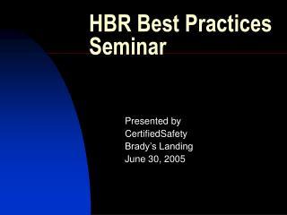 HBR Best Practices Seminar