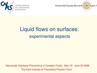 Liquid flows on surfaces: