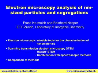 Electron microscopy analysis of nm-sized particles and segregations