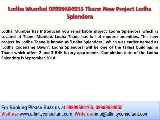 Lodha Thane New Residential Apartments 09999684955 By Lodha