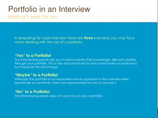 Yes  to Portfolio
