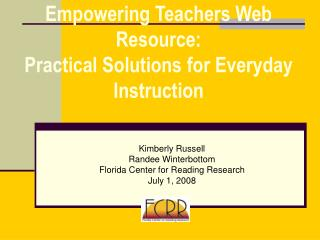 Empowering Teachers Web Resource: Practical Solutions for Everyday Instruction