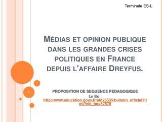 M dias et opinion publique dans les grandes crises politiques en France depuis laffaire Dreyfus.