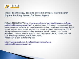 Travel Technology, Booking System Software