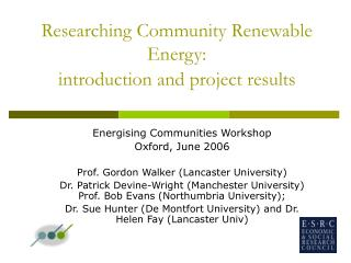 Researching Community Renewable Energy:  introduction and project results