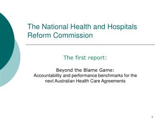 The National Health and Hospitals Reform Commission