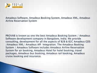 Amadeus Software, Amadeus Booking System, Amadeus XML