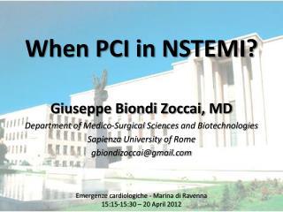 When PCI in NSTEMI