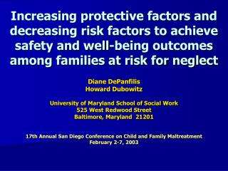 Increasing protective factors and decreasing risk factors to achieve safety and well-being outcomes among families at ri