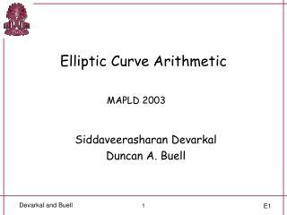 Elliptic Curve Arithmetic