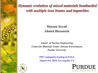 Dynamic evolution of mixed materials bombarded with multiple ions beams and impurities