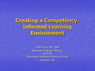 Creating a Competency-informed Learning Environment