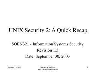 UNIX Security 2: A Quick Recap