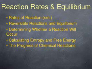 Reaction Rates  Equilibrium