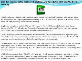 2011 Tax Season: ezW2 Software Simplifies And Speeds Up 1099