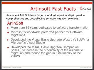Artinsoft Fast Facts