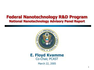 Federal Nanotechnology RD Program National Nanotechnology Advisory Panel Report