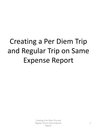 Creating a Per Diem Trip and Regular Trip on Same Expense Report