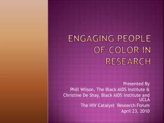 Engaging People of Color in Research