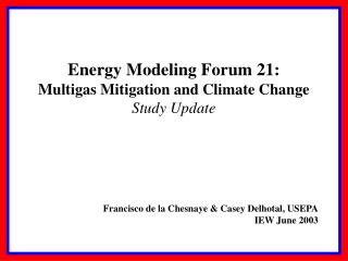 Energy Modeling Forum 21: Multigas Mitigation and Climate Change Study Update