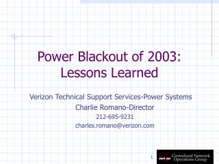 Power Blackout of 2003:  Lessons Learned