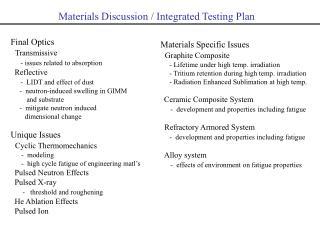 Materials Discussion