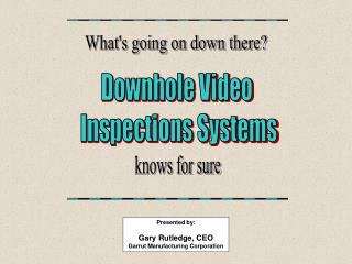 Downhole Video  Inspections Systems