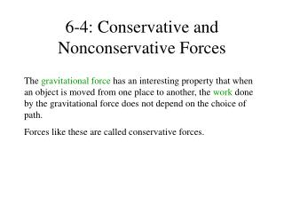 6-4: Conservative and Nonconservative Forces