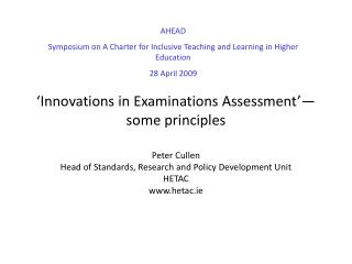Innovations in Examinations Assessment  some principles
