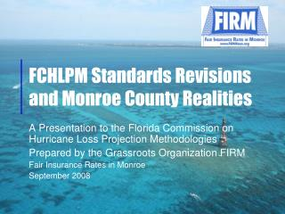 FCHLPM Standards Revisions and Monroe County Realities