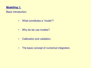 Modelling 1: Basic Introduction.