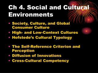 Ch 4. Social and Cultural Environments
