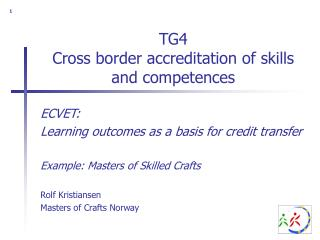 TG4 Cross border accreditation of skills and competences
