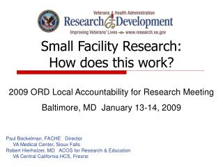 Small Facility Research: How does this work