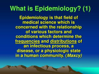 What is Epidemiology 1