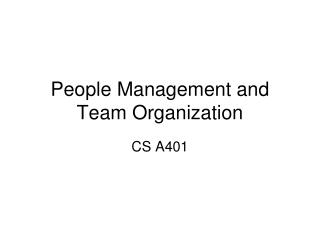 People Management and Team Organization