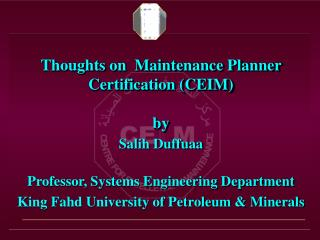 Thoughts on  Maintenance Planner Certification CEIM   by