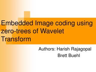 Embedded Image coding using zero-trees of Wavelet Transform