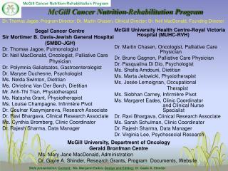 McGill Cancer Nutrition-Rehabilitation Program
