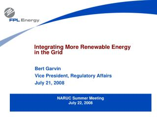 Integrating More Renewable Energy  in the Grid