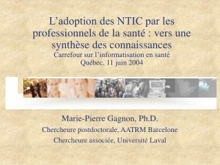 L adoption des NTIC par les professionnels de la sant  : vers une synth se des connaissances  Carrefour sur l informatis